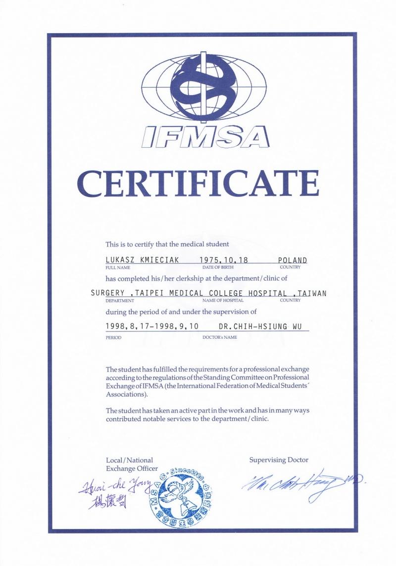 Certyfikat dr. n. med. Łukasza Kmieciaka z IFMSA Taiwan, wymiana studencka w Taipei